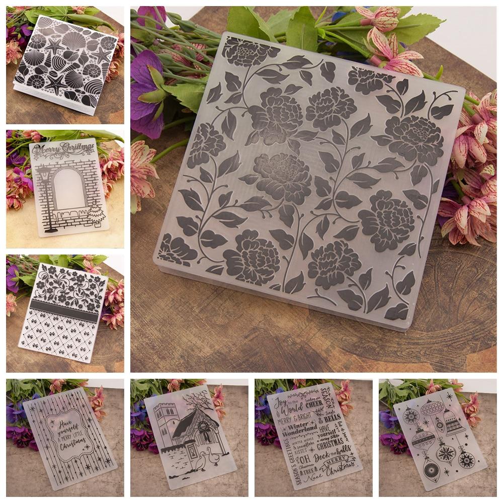 Mold Folding Transparent Christmas Cards Embossing Plastic Folder Scrapbook DIY