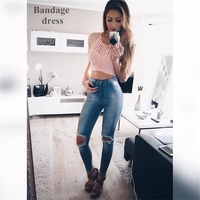 2016 New Crop Top Tank Top Quality Knitted Tights Bandage Sexy Women S Vest White Black