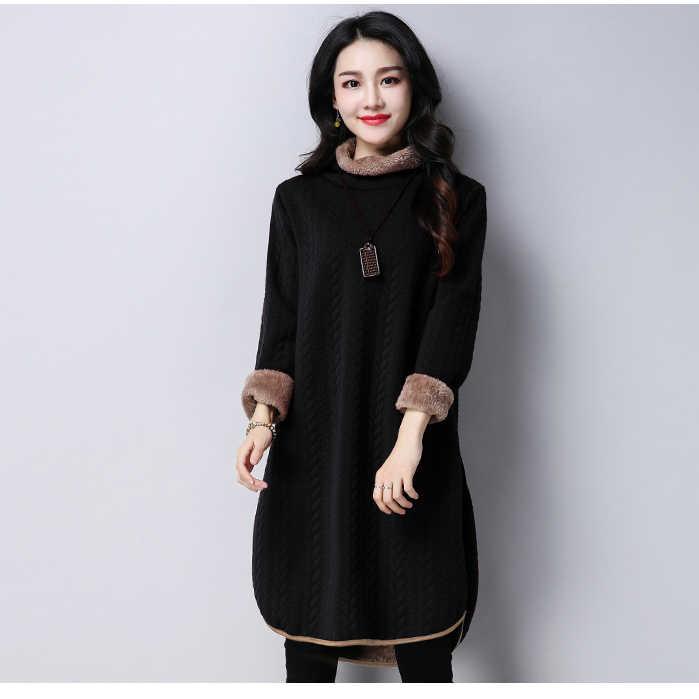 Супер теплая флисовая подкладка водолазка джемпер платье для женщин зима негабаритных утолщаются с длинным рукавом свободная туника платье пуловер voguee