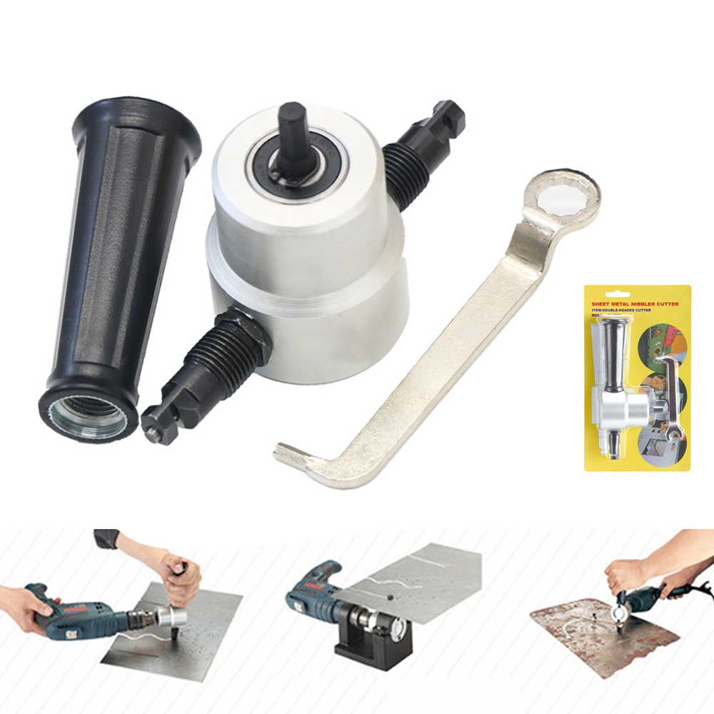 Super PDR Werkzeuge Blech Knabber Cutter Doppelkopf Schneiden Handwerkzeug Set Knabber Säge Bohrer Cutter Befestigung Werkzeuge