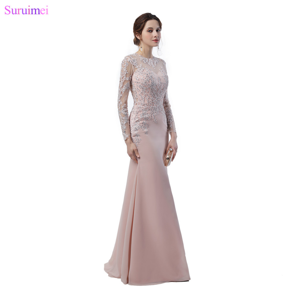 Long Sleeves   Bridesmaid     Dresses   Lace Applique Sheer Illusion Back See Through Long Mermaid Blush Pink Wedding Event Brides Maid