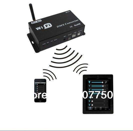 Dc 12 v conversor de wi fi dmx controler wifi310 modelo usado para iphones e ipad controle de dmx rgb luzes led