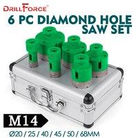 Drillforce 6 шт. алмазного отверстия Набор пил 20/25/40/45/50/68 мм M14 прочный керамики Карборунда M14 резьба буровой стержень