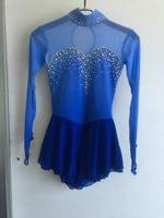 blue girls ice skating dress hot sale competition skating clothing custom figure skating dresses free shipping