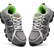 تنفس أحذية أمان الرجال الصيف خفيفة الوزن مكافحة تحطيم ثقب العمل الصنادل واحدة شبكة حذاء رياضة