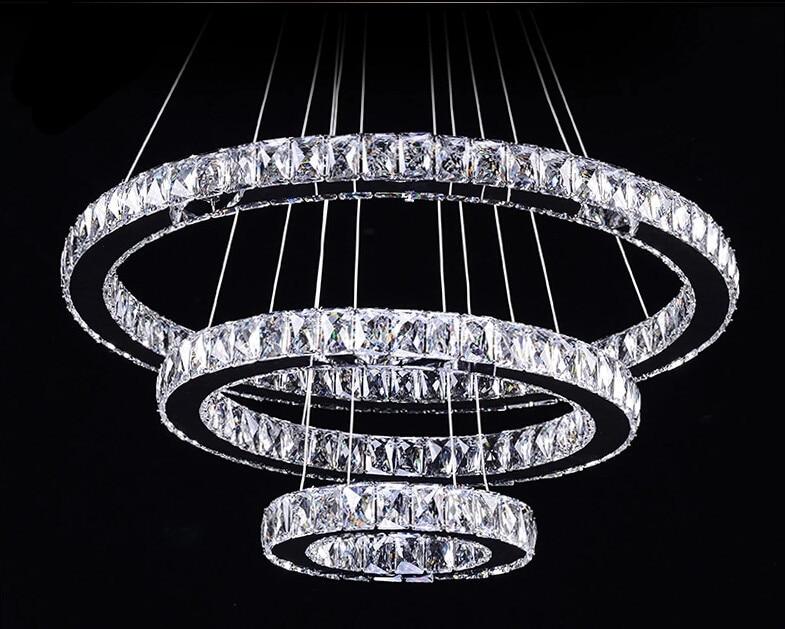 Modern 3 Ring Crystal Chandeliers Led Lamps Modern K9 Led