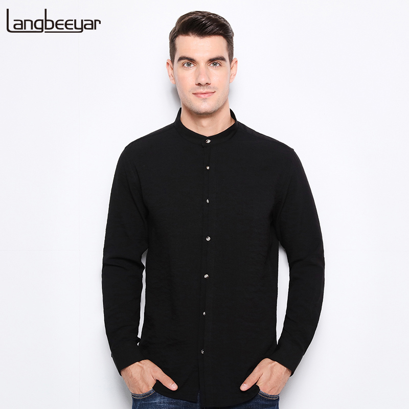 Top grade 2018 new fashion brand clothing mens shirt black for Top dress shirt brands