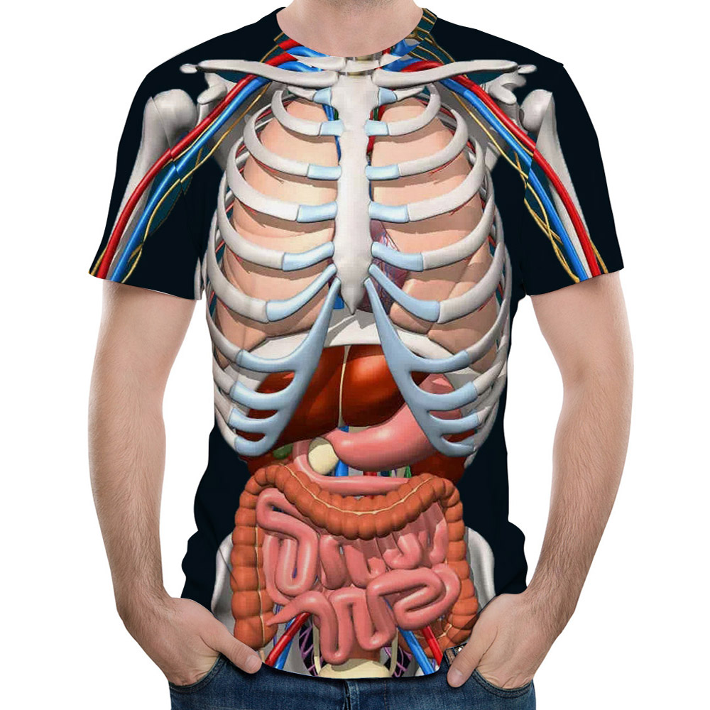 2018 New Fashion Male Skeleton Internal Organs 3D Printed Round Neck Short Sleeved T Shirt font