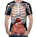 2018 nova moda masculina esqueleto órgãos internos 3d impresso em torno do pescoço de manga curta camiseta anime engraçado halloween men t shirt