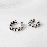 HFYK 2018 925 sterling silver vintage łańcuch małe kolczyki hoop kolczyki dla kobiet brincos boucle d oreille oorbellen orecchini