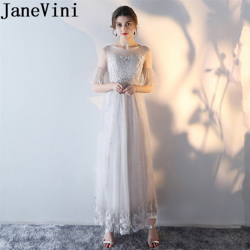 JaneVini 2018 Long   Bridesmaid     Dresses   Lace Appliques Sheer Scoop Neck Floor Length Formal Wedding Maid Of The Honor Party Gowns