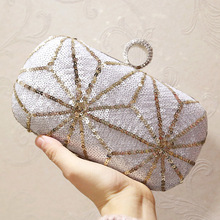 Luxury Glitter Sequins Nude Silver Evening Bag Wedding Fashion Party Clutch Bags Black Purse With Chain Strap