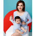 Breastfeeding Clothes Blue/pink Spring Autumn New Striped Style  Family matching clothing Boy/Girl Soft  mother daughter dresses