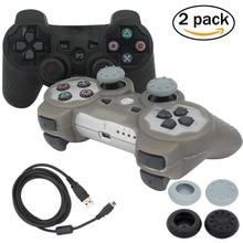 Blueloong 2 unids Negro y Plata Color Joystick Gamepad Inalámbrico Bluetooth Para Playstation 3 Controlador de PS3 + Free