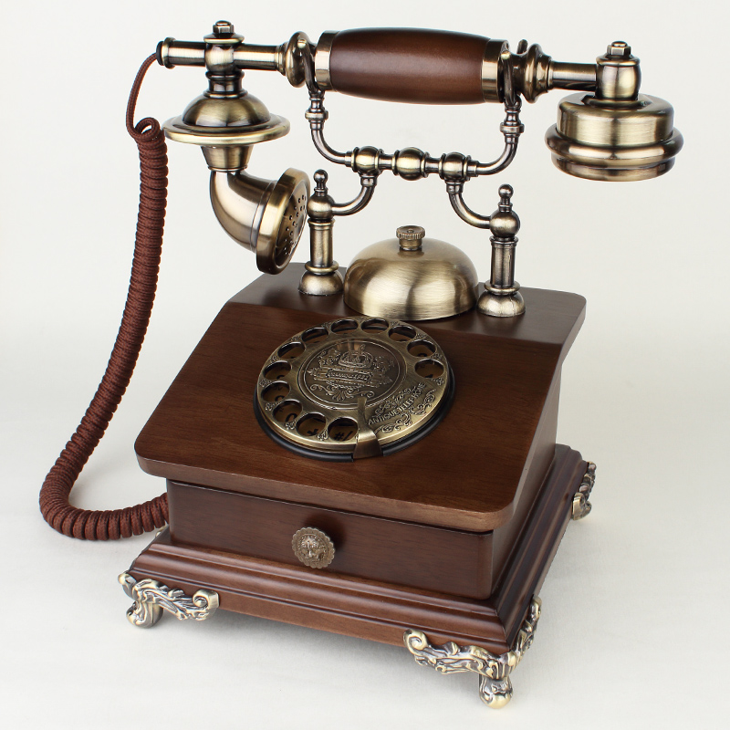 Us 111 13 7 Off Solid Wood Antique Telephone Fashion Vintage Old Fashioned Rotate The Number Rustic Home Phone In Telephones From Computer Office