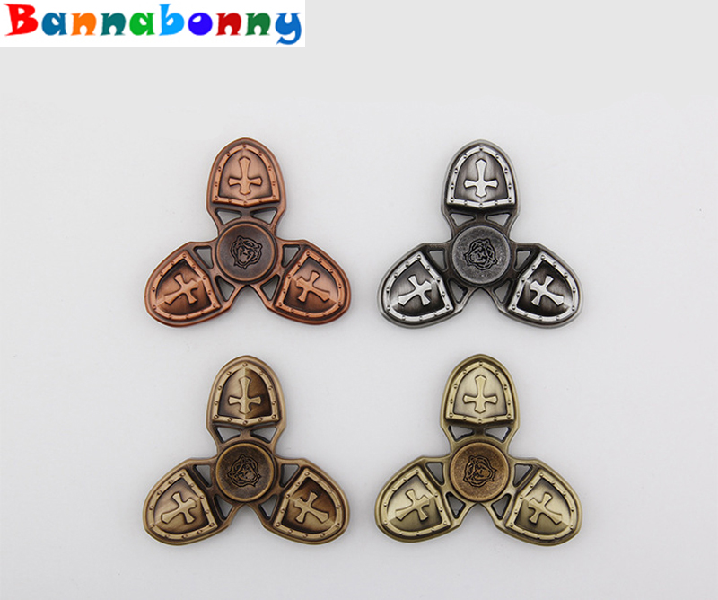 20PCS LotNew Fidget Toy Crusader Tiger Hand Spinner Metal Finger Stress Spinner Tri spinner Triangular