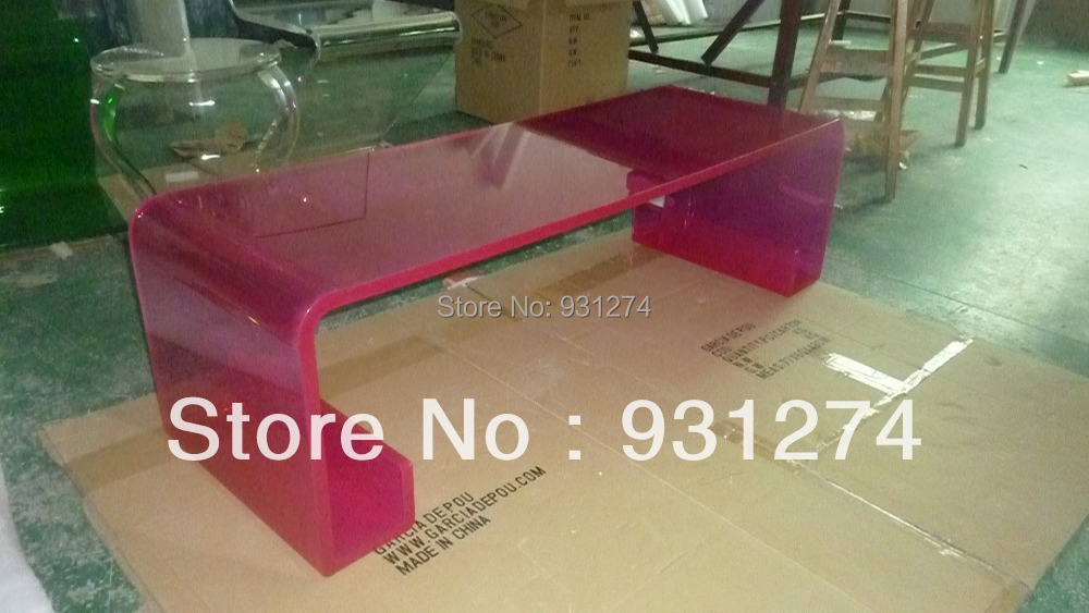 (FREE SHIPPING)Red Curved Acrylic Bench /lucite  Stool/acrylic Chair/home Furniture/living Room Furniture/acrylic Furniture