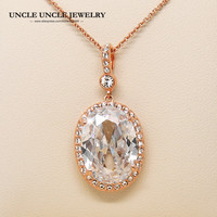 Ultra-big Rose Gold Color Royal Oval Top Class Clear Cubic Zirconia Jewelry Luxury Woman Pendant Necklace Wholesale