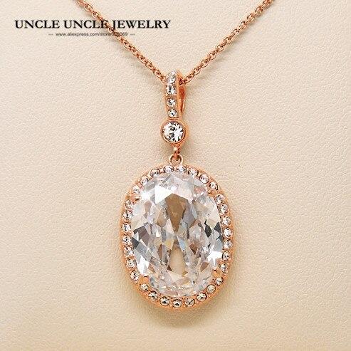 0accb709b610 Ultra-grande Rosa oro color oval real Top Class claro cúbicos zirconia mujer  joyería de lujo colgante collar al por mayor