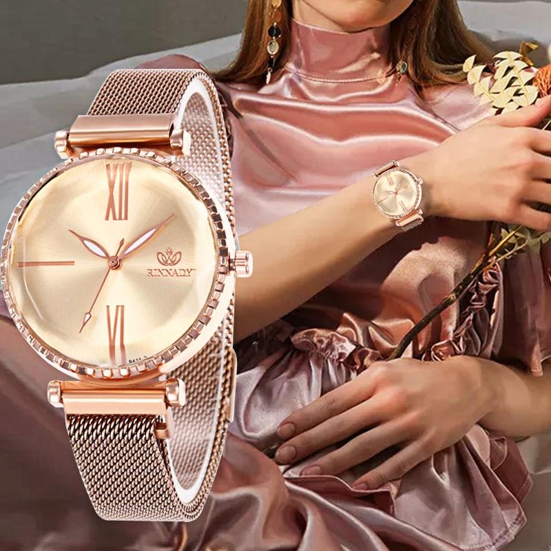 WJ-8559 Luxury Rose Gold Women Watches Minimalism Magnet Buckle Fashion Casual Female Wristwatch Waterproof Roman Numeral