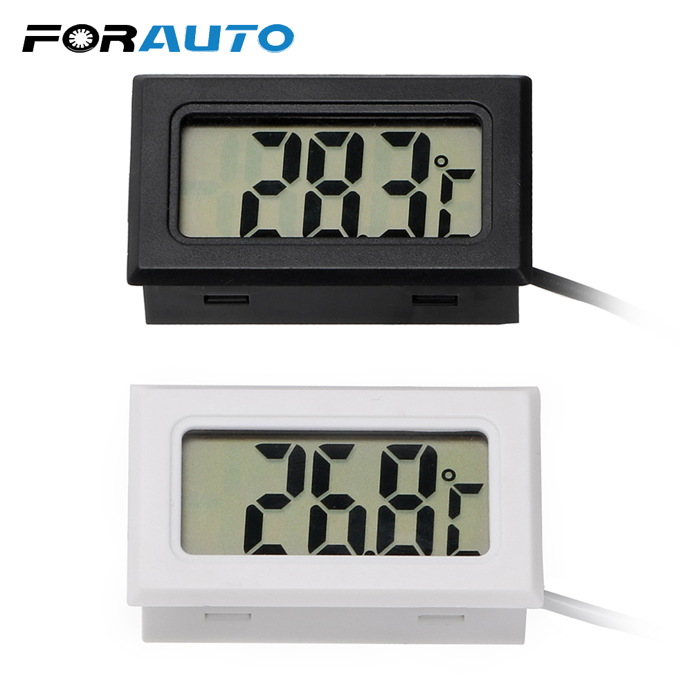 FORAUTO Car Thermometer Car Ornaments LCD Display Digital Clock Car-Styling Temperature Gauge Meter For Fish Tank Refrigerator