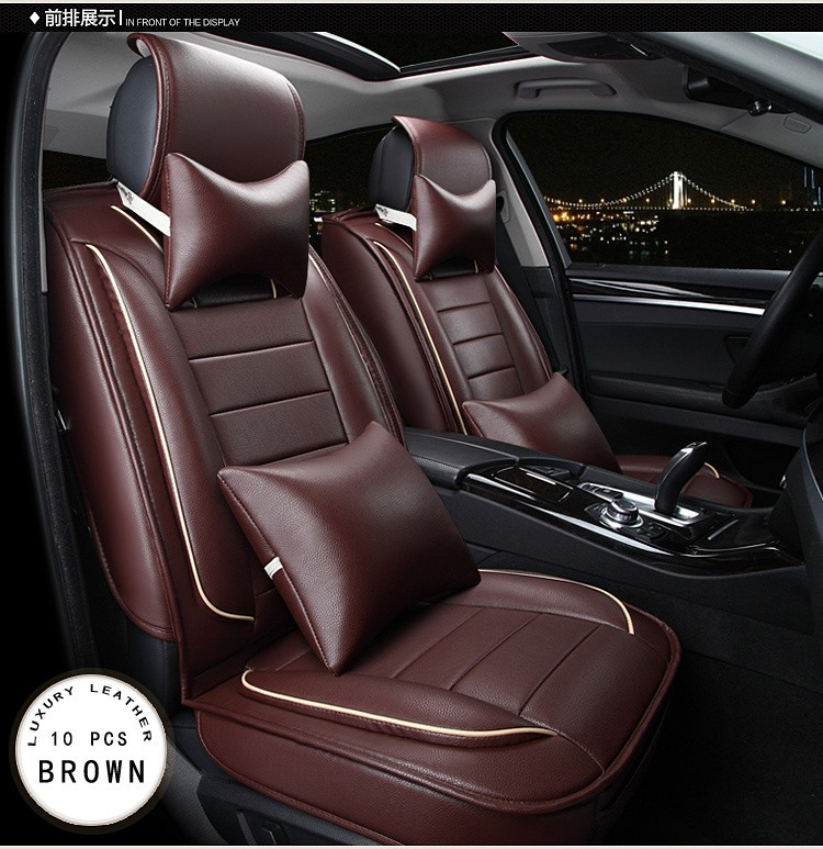 Red Beige Brown Orange Luxury Pu Leather Car Seat Cover Front Rear