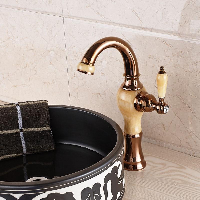 Rose Golden & Marble Bathroom Hot and Cold Water Basin Faucet Single Handle Washing Basin Mixer Deck Mounted лаки для ногтей golden rose лак golden rose rich color тон 156