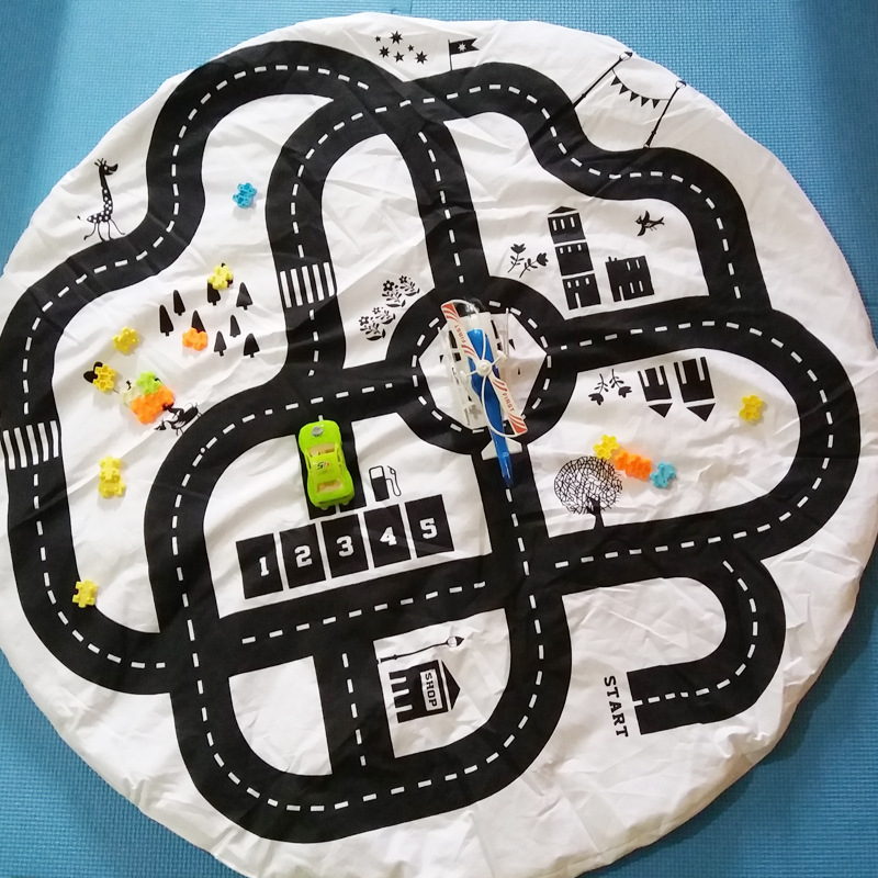 Baby Play Mat 1cm Soft Crawling Rugs Car Track Runway Puzzles Tapete  Learning