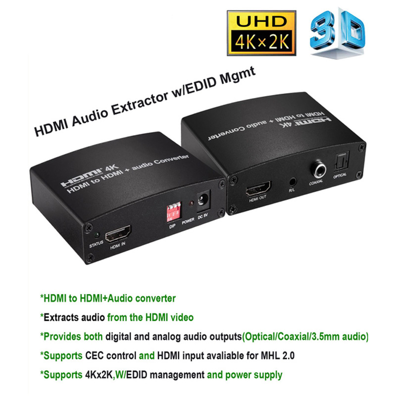 Nouveau 4 K x 2 K HDMI à HDMI et Audio Converter avec Optique Coaxial 3.5 MM Connecteur Convertisseur Adaptateur avec Dip Gestion EDID