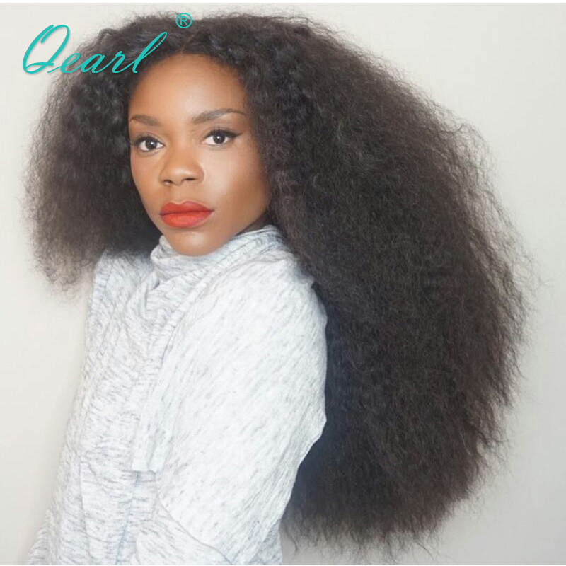 Qearl Heavy Thick Density 250% Lace Front Wig Brazilian Remy Hair Wigs Human Hair Front Lace Wig Kinky Straight Afro Real Wig ...