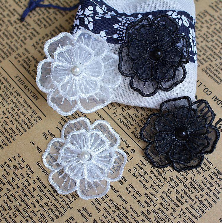 Fabric Flower Trim: 50pcs White Lace Flower With Beads Fabric Flowers For
