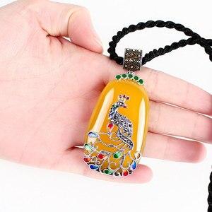Image 4 - JIASHUNTAI בציר 100% 925 כסף סטרלינג רויאל טבעי אבנים טווס תליון שרשרת תכשיטי נשים רטרו