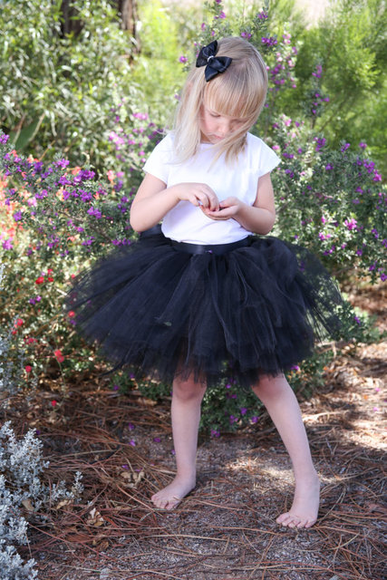 black tulle kids children girl tutu skirt toddler baby mini costume ball gown party ballet dance wedding pettiskirt kids
