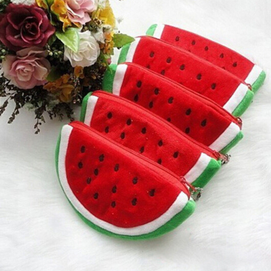 Plush Red Watermelon Coin Bags Fruit Wallet Big Volume Watermelon School Kids Pen Pencil Bag Case Popular Coin Purses