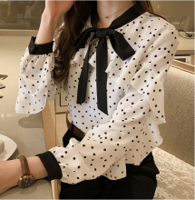 Spring and summer new style Sweet bow polka dot chiffon lining Ruffled tops women's bottoming shirt polka dot ruffled longline t shirt