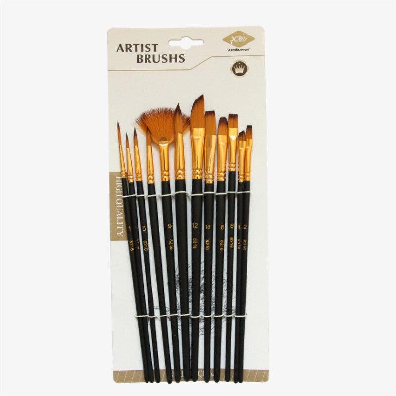Wooden Handle Nylon Hair Drawing Art Supplies 12 Pcs Kids Student Watercolor Gouache Painting Pen Paint Brush Set