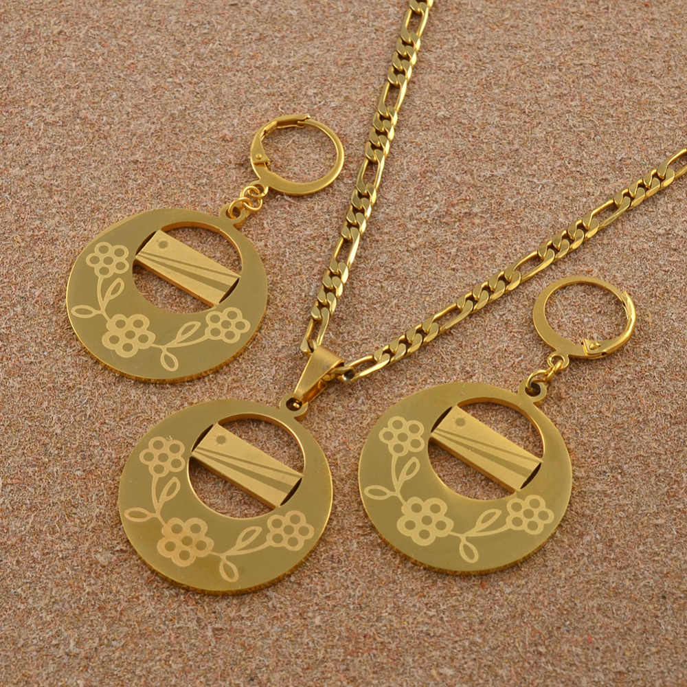 Flag Jewelry set Marshall Islands Gold Color Flower Pendant Necklaces Earrings for Women Marshallese Ethnic Gifts #J0232