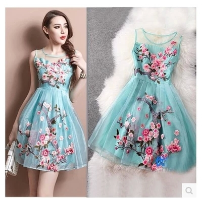 2bf595d56646a Summer Dress 2017 Fashion Handmade Organza Embroidery Women Plus Size Party  Dresses O-Neck Wedding Mini Dress