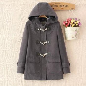 Duffle Coat Long Turn Down Horn Button Hooded Collar Woolen Overcoat Wide Waisted manteau femme Out Wear winter coats stuffed toy