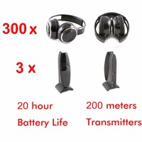 Wireless Silent disco foldable headphones 300 pcs with 3 transmitters RF Silent Disco earphones For DJ music pary club meeting
