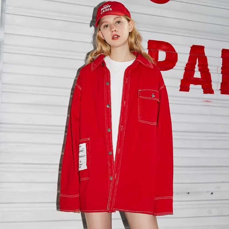 UNIFREE 2019 Новое поступление осенней красной верхней куртки для женщин cвободный корейский стиль хип-хоп уличная сексуальная для осенняя куртка женская UHC183B001