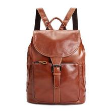 Oil wax leather backpack Restore ancient ways women's backpack Leather men's backpack