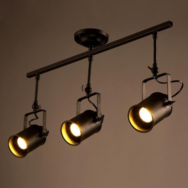Loft Led Track Lamp Nordic Retro Rh American Spot Black Ceiling Light Vintage