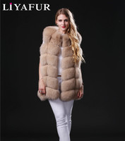 LIYAFUR 18 Colors Real Genuine Natural Thick Blue Fox Silver Fox Fur Sleeveless Vest for Women Winter Gilet Waistcoat Coat