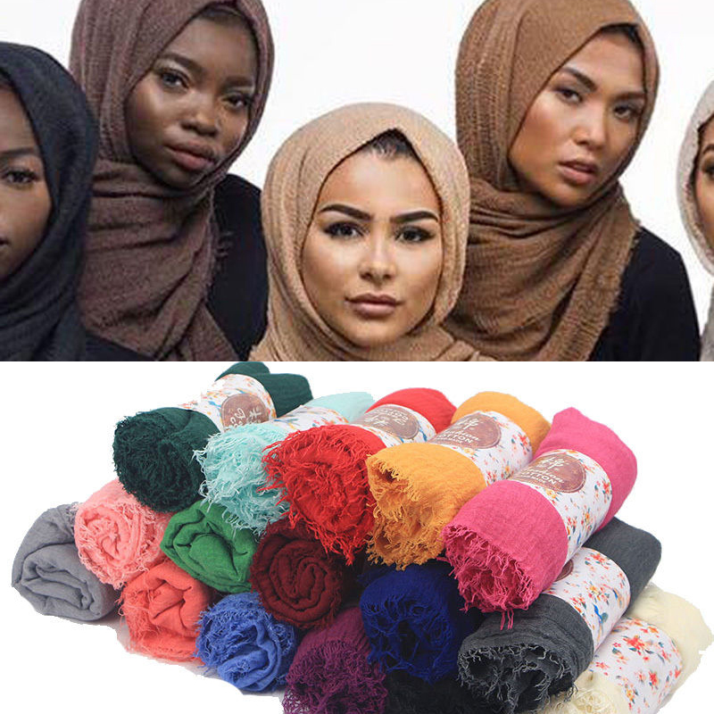 2018 Women Premium Cotton Hijabs Plain Crinkle Cloud Hijab Scarf Shawl Soft Islam Muslim Headcover fine gauze painted butterfly shawl scarf