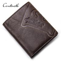CONTACT'S Genuine Leather   Wallet   Men Coin Purse Male Cuzdan Small Walet Portomonee PORTFOLIO Slim Mini Purse Vallet Money Bag