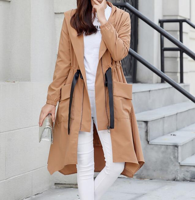 Mode Trench À coat 2xl Noir Printemps Capuchon 7xl Femmes Longue Chaude Taille kaki Mince Grande 2019 Nouvelle OOUvY6