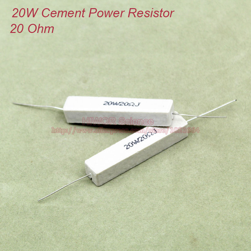 (5pcs/lot) <font><b>20W</b></font> 20 ohms Ceramic Cement Power <font><b>Resistor</b></font> 20ohm TOL 5% <font><b>Resistors</b></font> image