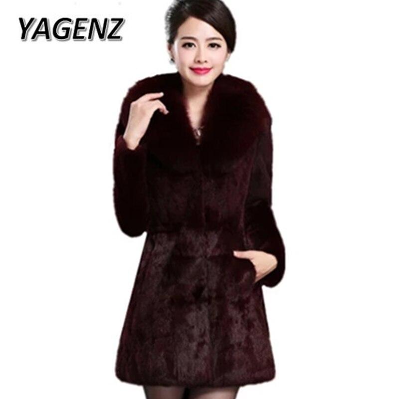 red Grand Femmes Mode De Nouveau Col Black Wine Vin Longues 2018 Manches Chaud Hiver Mince Rouge Noir Faux Fourrure Grande Manteaux Taille 6xl xwq1YxI5