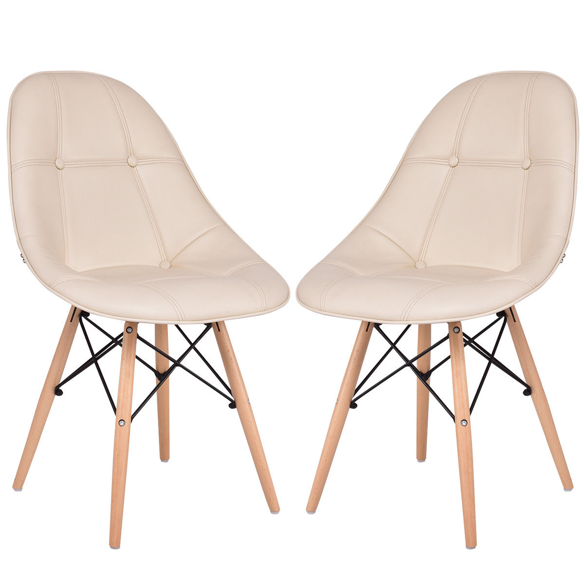 accent kitchen chair dining chair with pu leather seat solid wood swivel function Giantex Set of 2 Dining Side Chair Armless PU Leather Seat with Wood Legs Beige Modern Dining Room Furniture HW56505WH